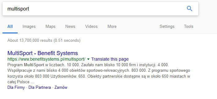 """SEO - на първо място в Google по """"multisport"""""""