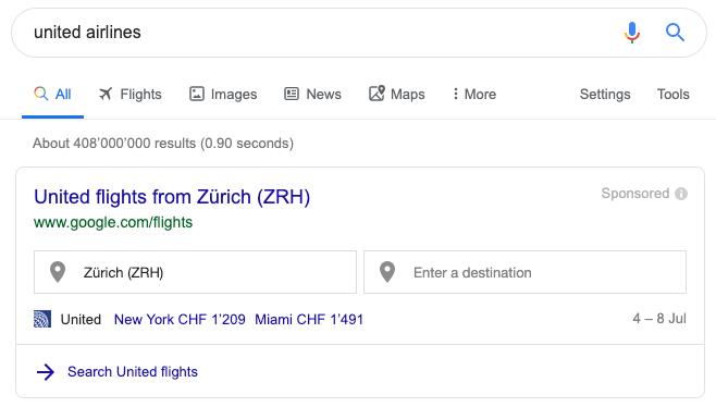 Търсене на United Airlines - 1