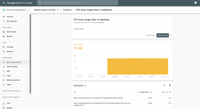 Google Search Console - Speed Report - 13